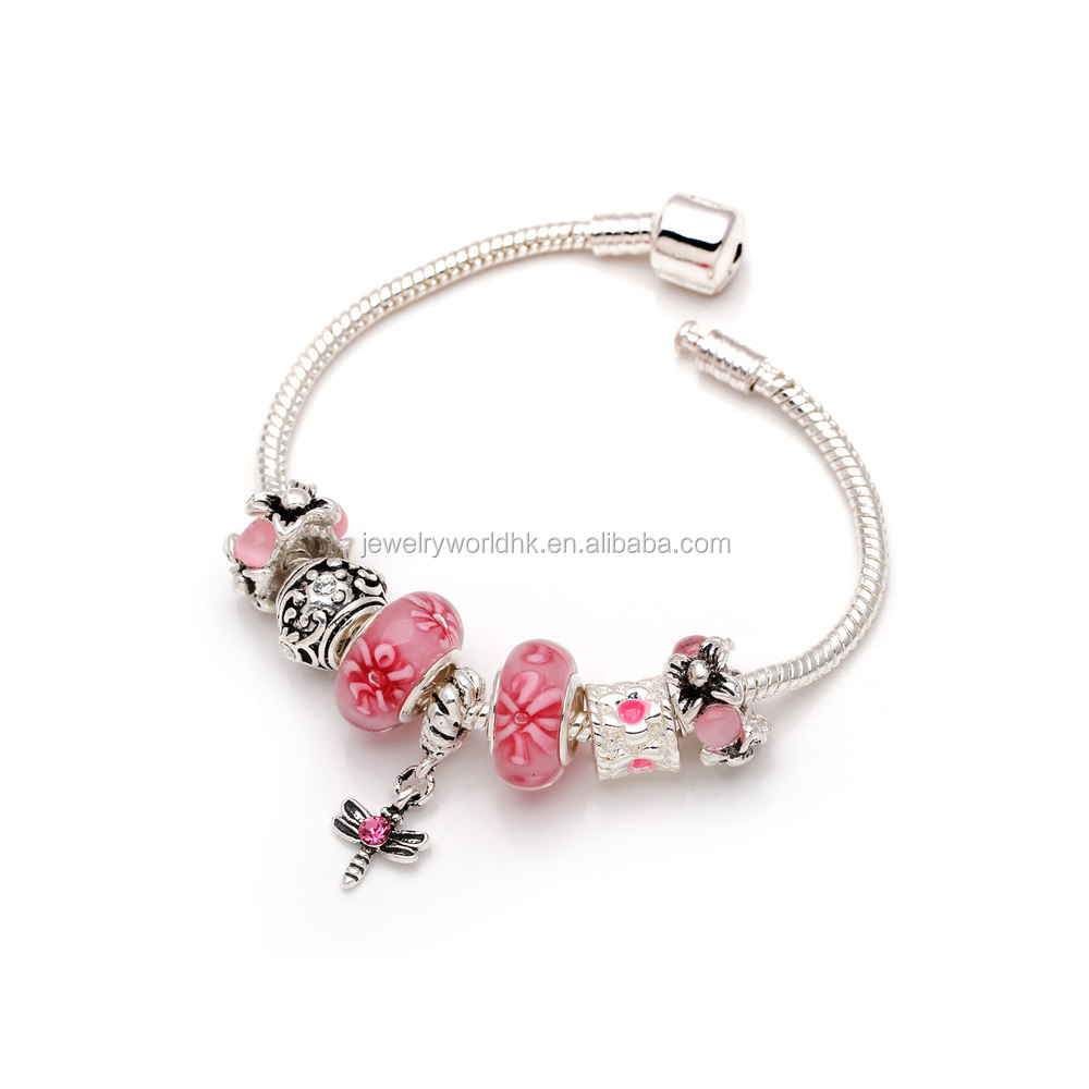 lovely bead glass murano view pink vintage beads inspired quick p pandora style bracelet