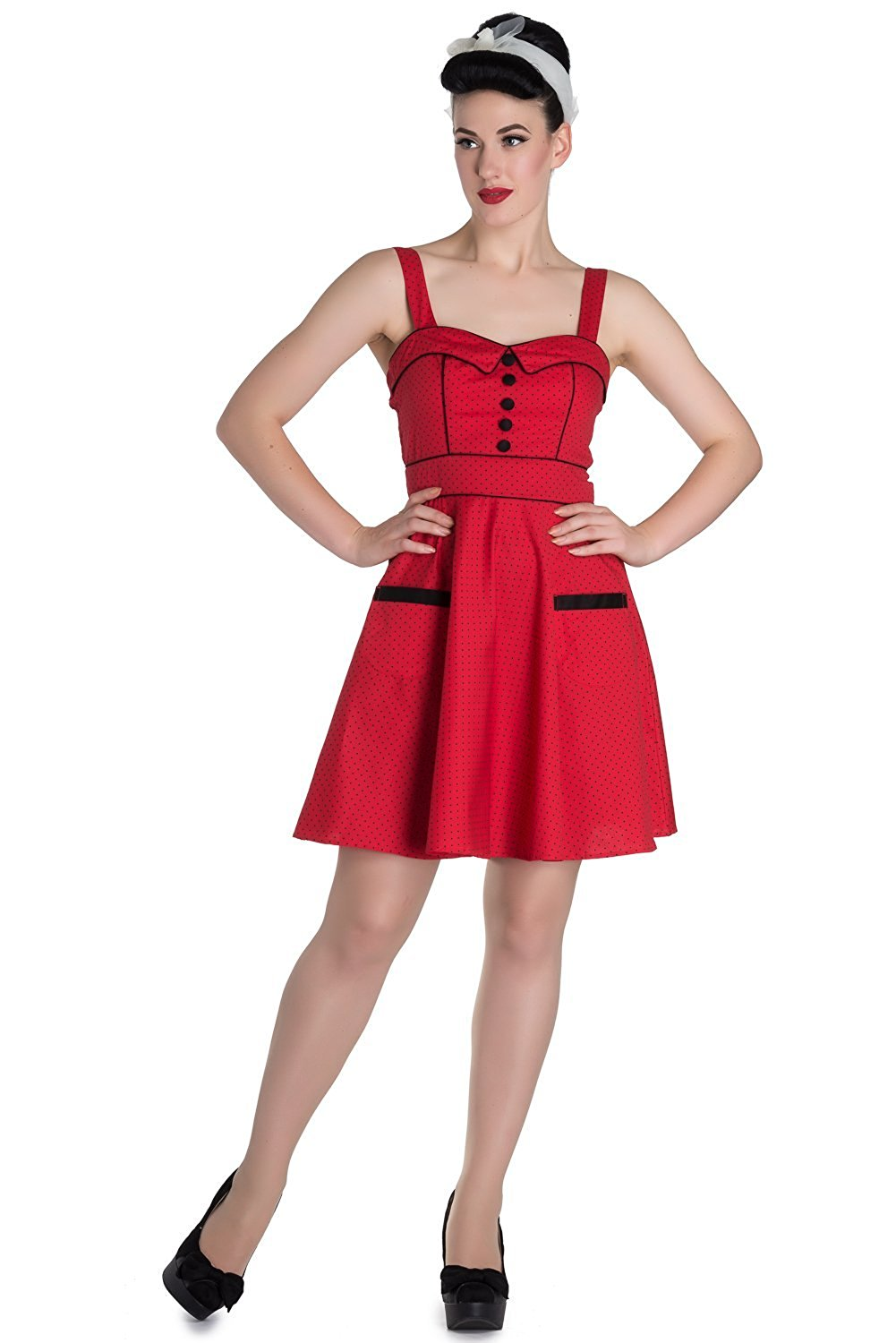cc140a3d165 Get Quotations · Hell Bunny Red Vanity Mini Pinup Rockabilly Dress