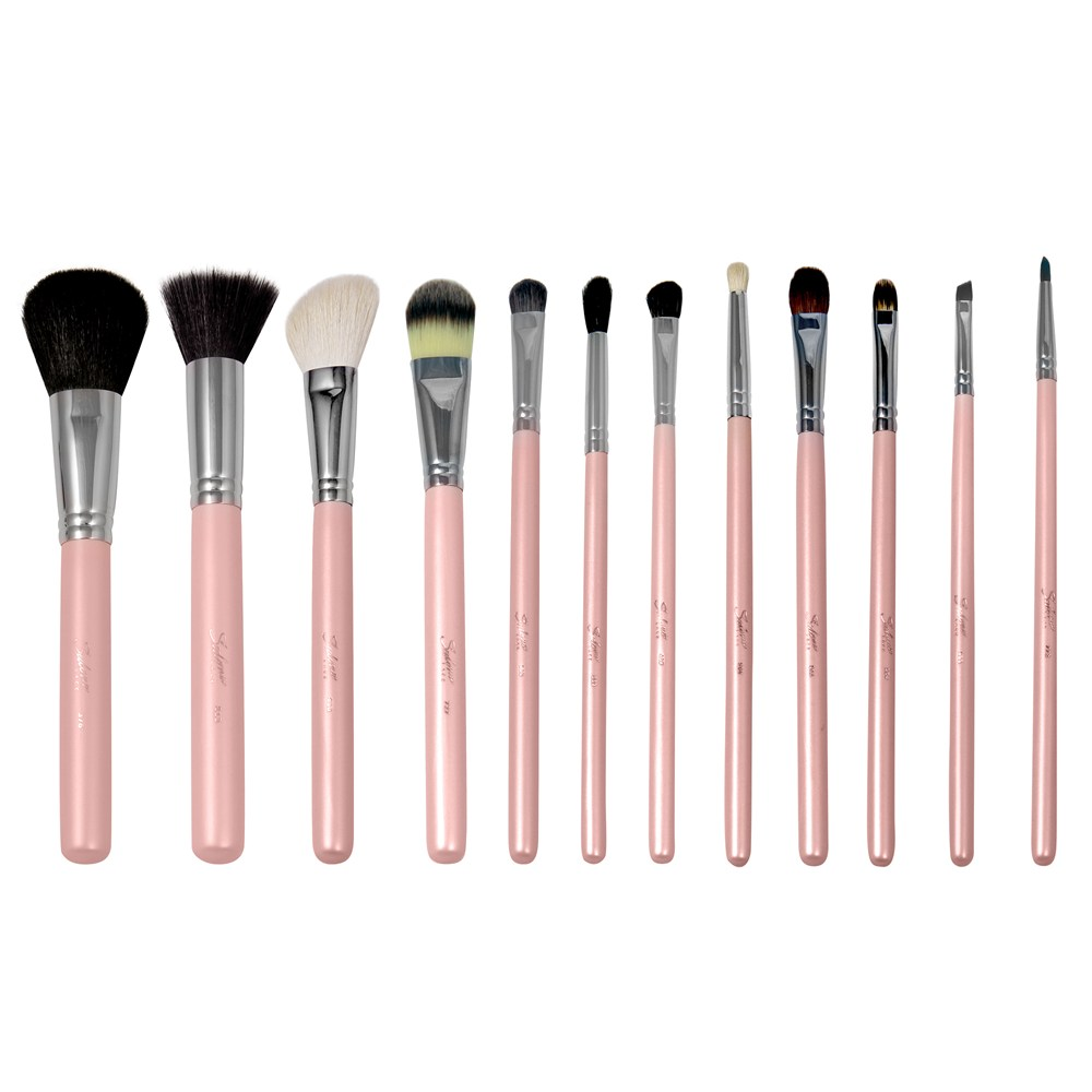 12 Piece Beautiful Pink Function Makeup Brush Set Super Soft ...