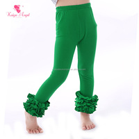 Kaiya Angel Plain Green Cotton Knitted Triple Ruffle Pants Kids Leggings Girls Leggings
