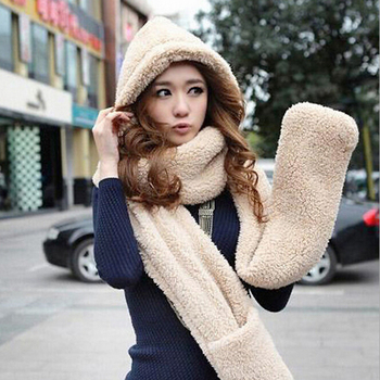 W25090 winter three-piece hooded pocket scarves warm womens hat glove scarf  set ca874c63693