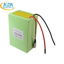 KOK POWER LiFePO4 36V 20Ah Li-ion Battery 36V 10Ah 20Ah 30Ah Electric Bicycle Scooter EBike Rechargeable Batteries