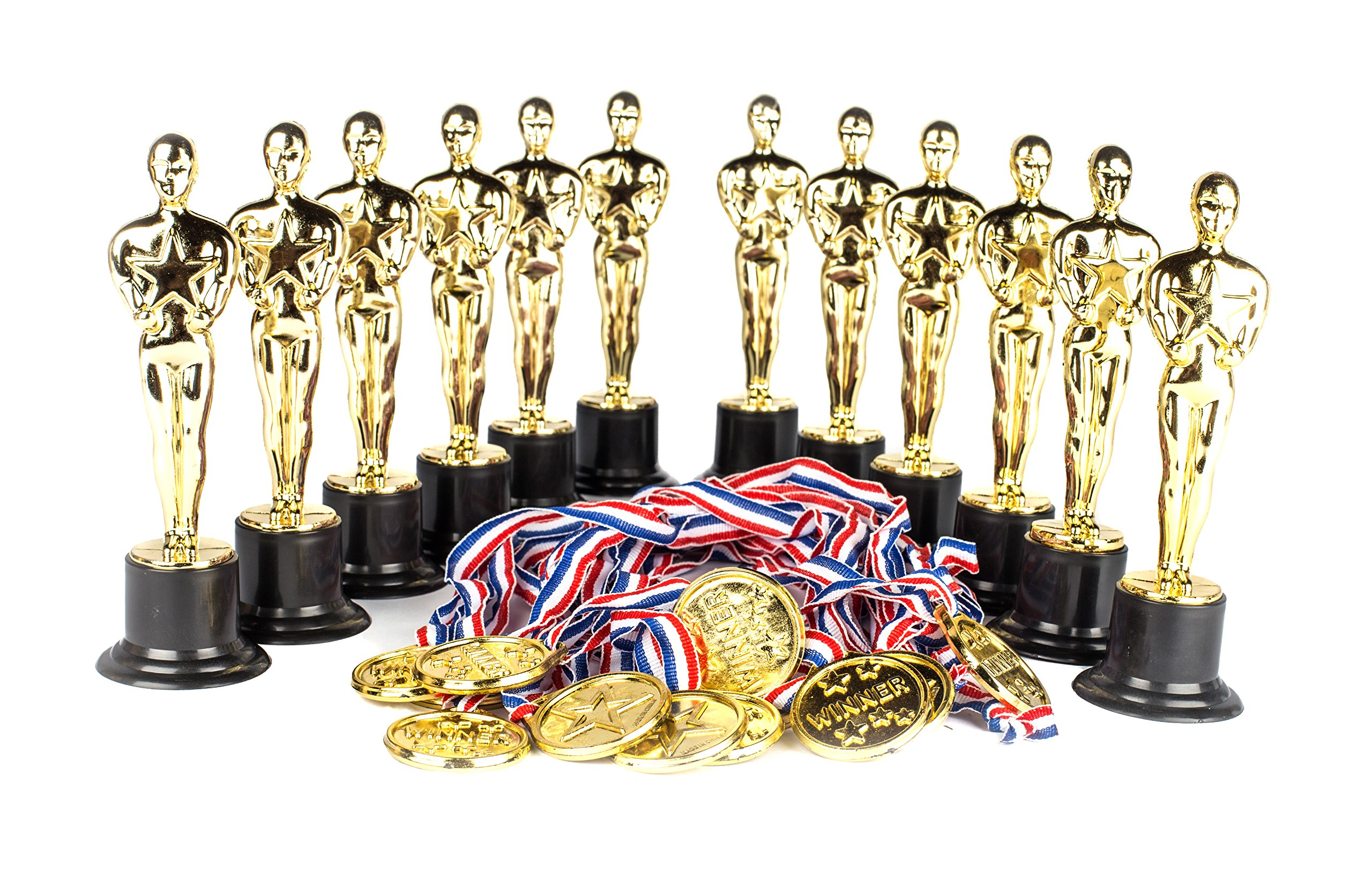 "Award Medal of Honor Trophy Award Set of 24; Includes 12 Gold Winner Award Medals; 12 Gold Award Trophy Statues 6"" Award Trophies for Award Ceremonies, Party Favors, Goody Bag Stuffers, Party Supplies"