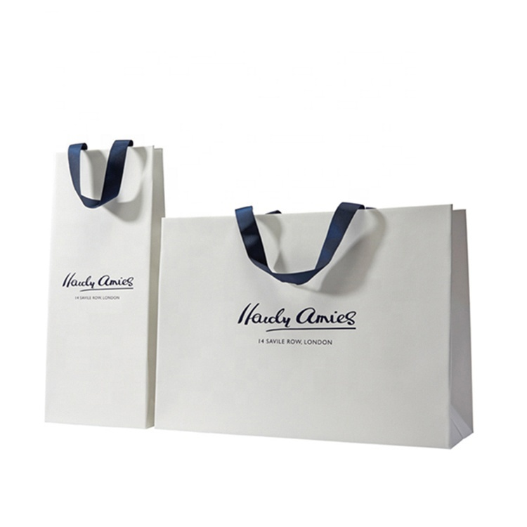Luxury boutique retail gift shopping custom logo printing advertising paper carry bags with ribbon handle