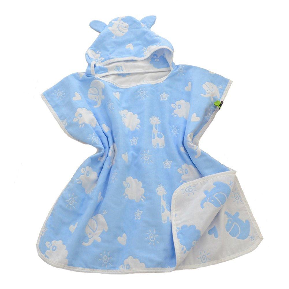 Get Quotations · Rohern Cute Cartoon Kids Hooded Bath Towel Terry Bathrobes  Soft Robes Blue Zoo de23d2b4f