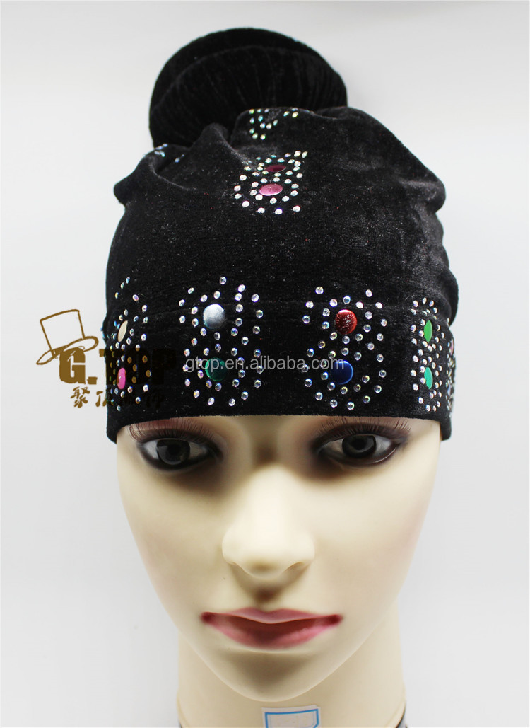 velvet ball turban hair cap head wrap