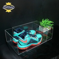 JINBAO transparent luxury acrylic glass sneaker shoe storage box display showcase case clear acrylic stackable box for shoes