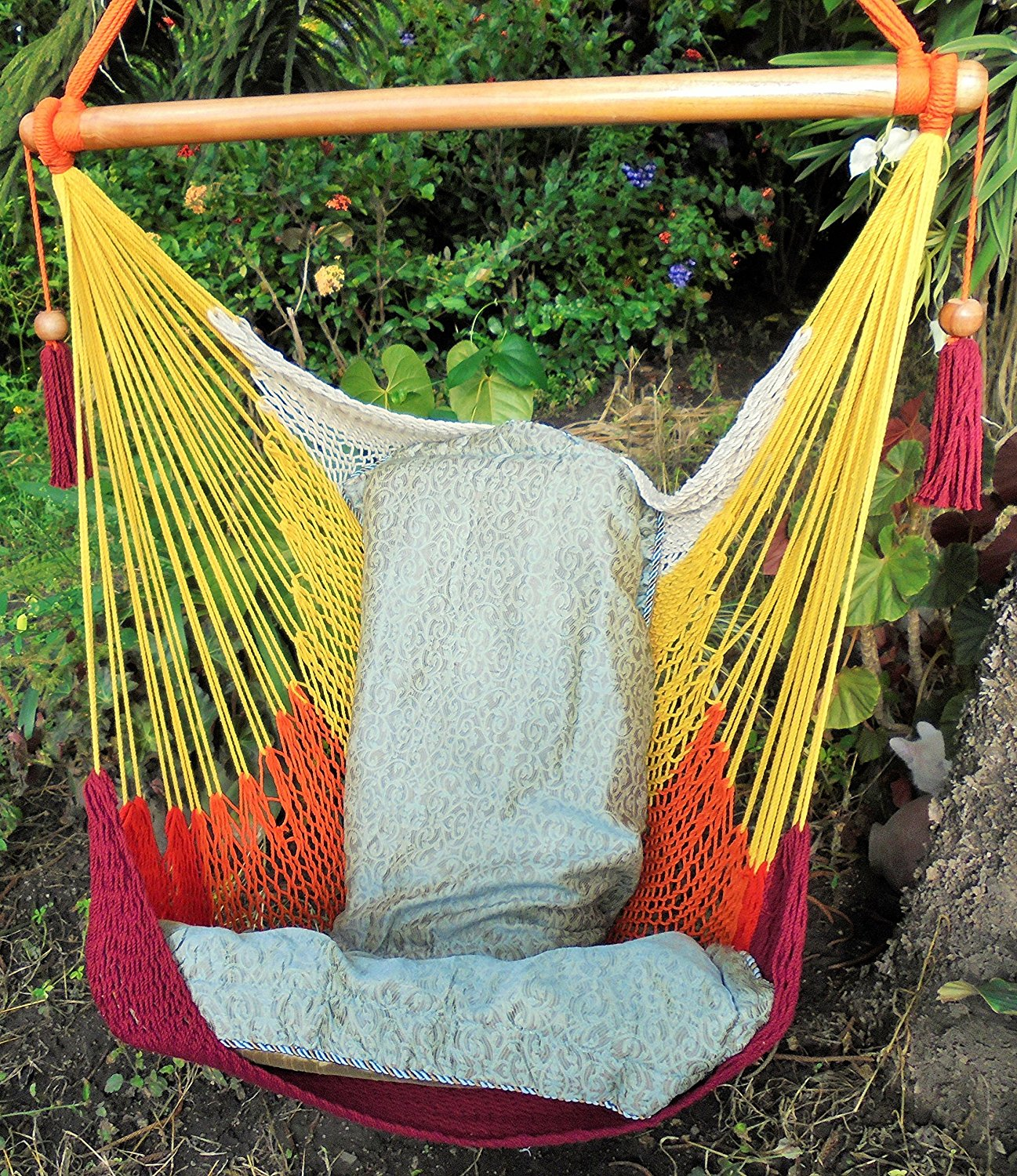 Get Quotations · Beautiful Tropical Hammock Chair Warm Colors/ Indoor  Outdoor Chair Hammock/ Hanging Chair Swing/