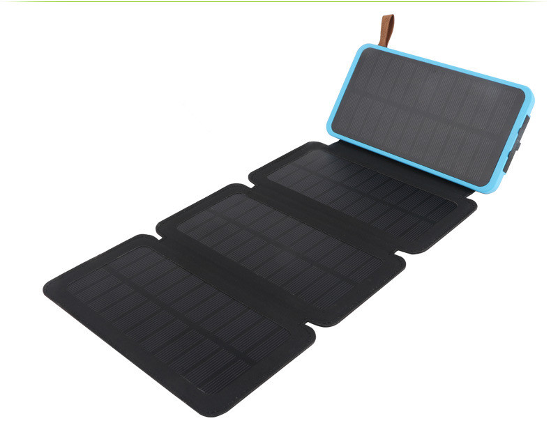 fast charging 3 solar panel 8000mah Collapsible Solar Power bank with 2 USB port