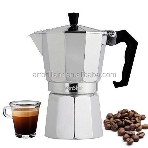 Moka Pot Aluminum Coffee Maker Espresso Percolator Coffee Cup Silver