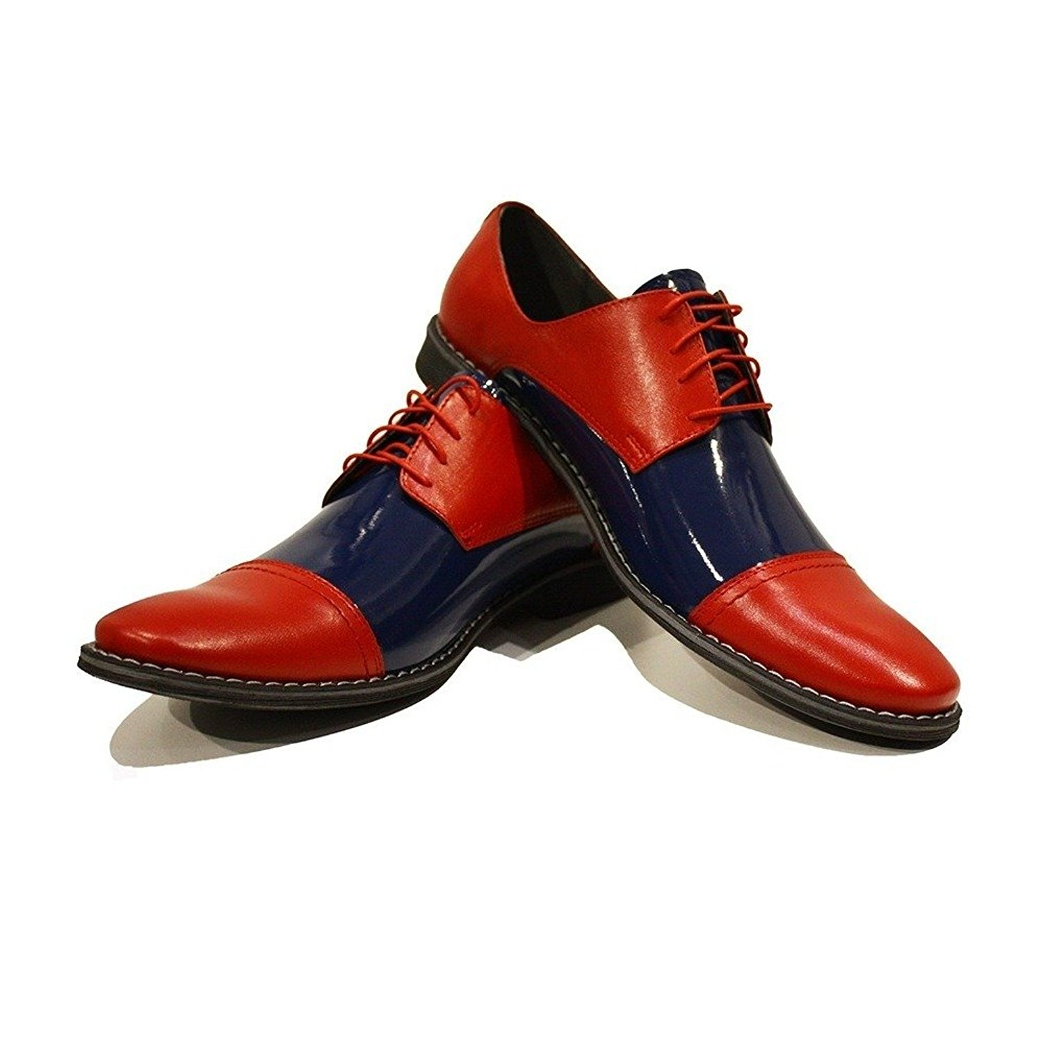 Modello Pietro - Handmade Italian Mens Red Oxfords Dress Shoes - Cowhide Patent Leather - Lace-up