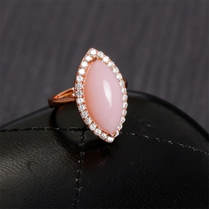 gemstone jewelry factory wholesale trendy pink opal 925 silver ring for women