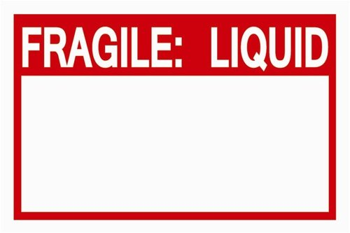 "TUCO DEALS - 2"" x 3"" Rectangle Fragile: Liquid Warning Self Adhesive Warning Shipping Labels / Stickers w/ Writing Area (100 Labels Per Roll)"