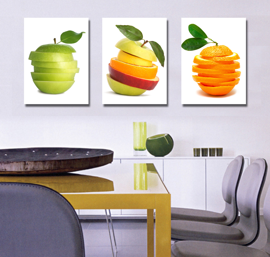 3pcs Sweets_Ice_cream paintings for the kitchen fruit wall ...