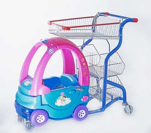 Metal shopping cart with kids toy cart Plastic push plastic cart for kids