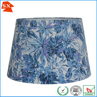 Hotel bedside wall cone drum TC printed leafs fabric glass table light shade