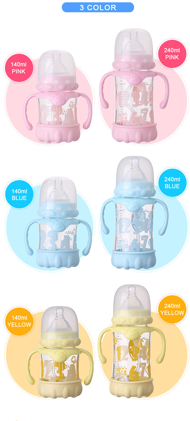 automatic feeding bottle with handle