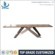Metal legs wood dining centre table foshan furniture
