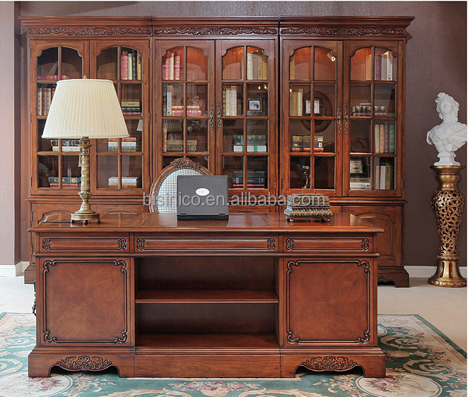 Antique classic style office desk glass door bookcase - Retro office desk ...