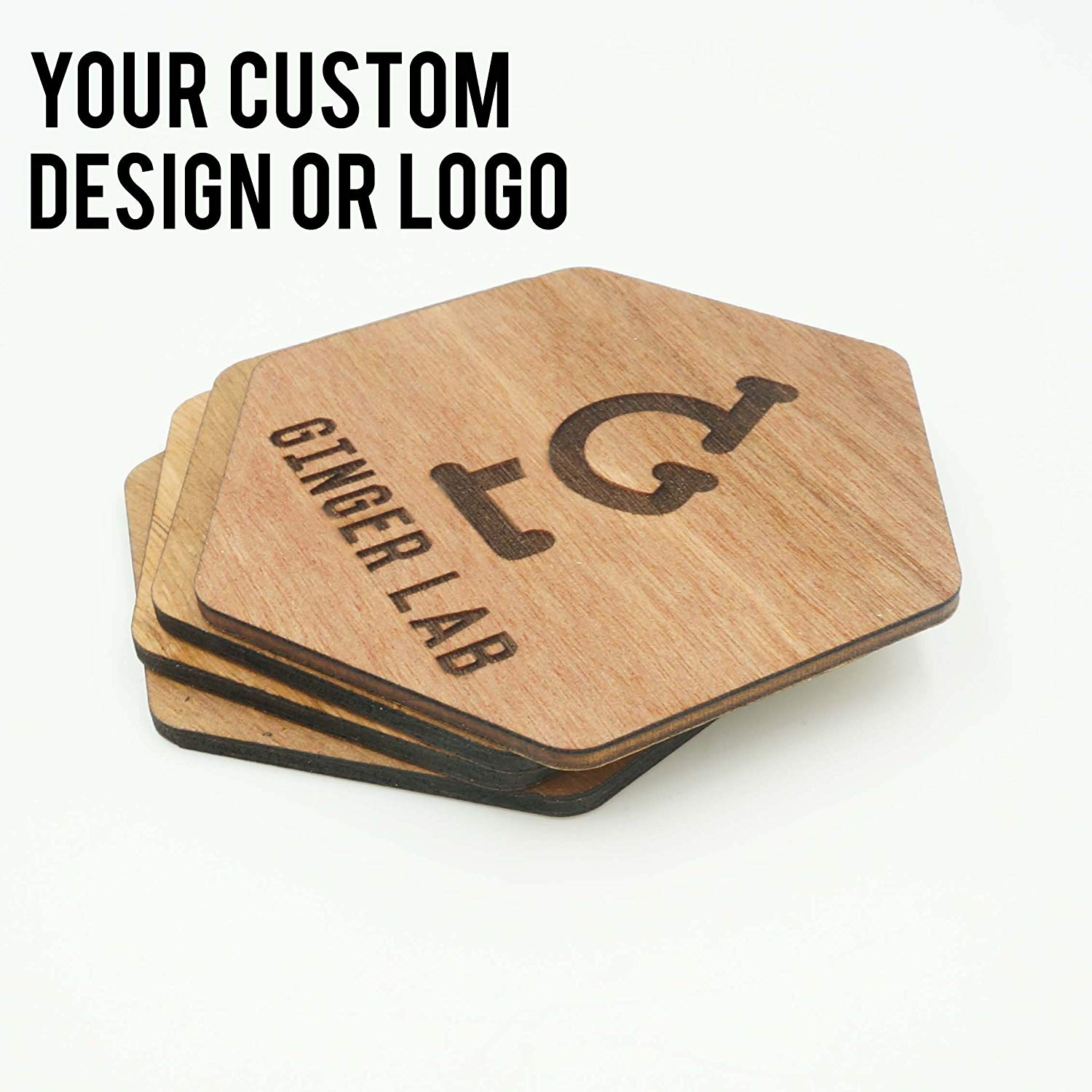 Custom Modern Hexagon Wooden Coasters Company Logo Design Your Design Wedding Coasters Personalized Engraved Cut Drink Holders Whiskey Gift Idea