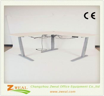 Metal Desk With Wood Top Adjustable Trestle Table Electric Height Or