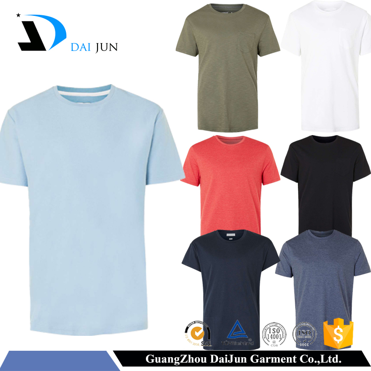 Daijun Factory OEM Best Quality Men Casual Short Sleeve 180g 100% Cotton Round Neck Breathable Plain Wholesale Blank T Shirts