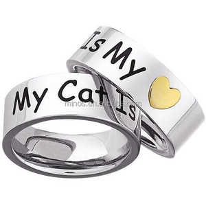 Custom Made Logo Ring , Stainless Steel 'My Cat Is My Heart' Memory Ring