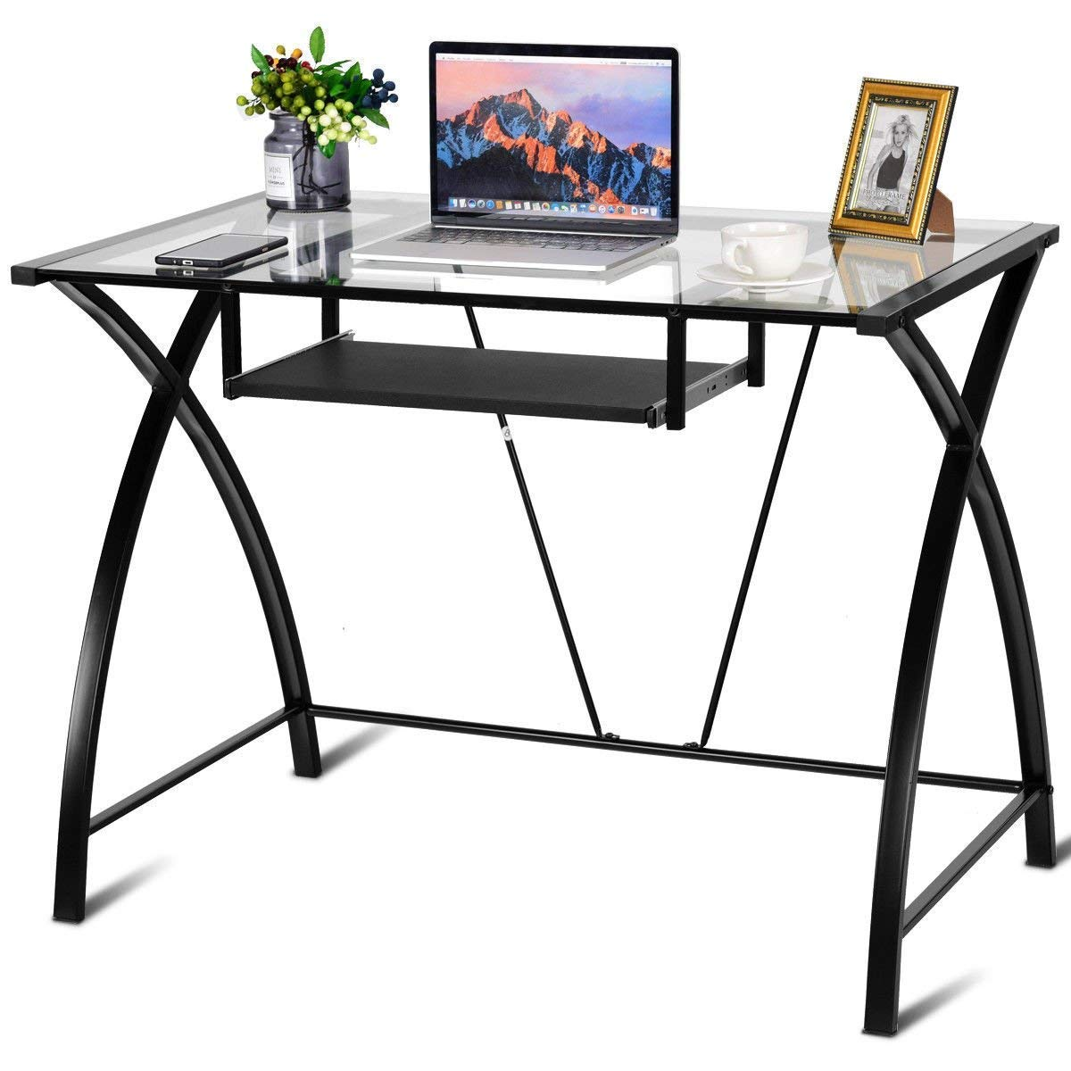 Clear Glass Top Computer Desk w/Pull-Out Keyboard Tray Home Office Furniture