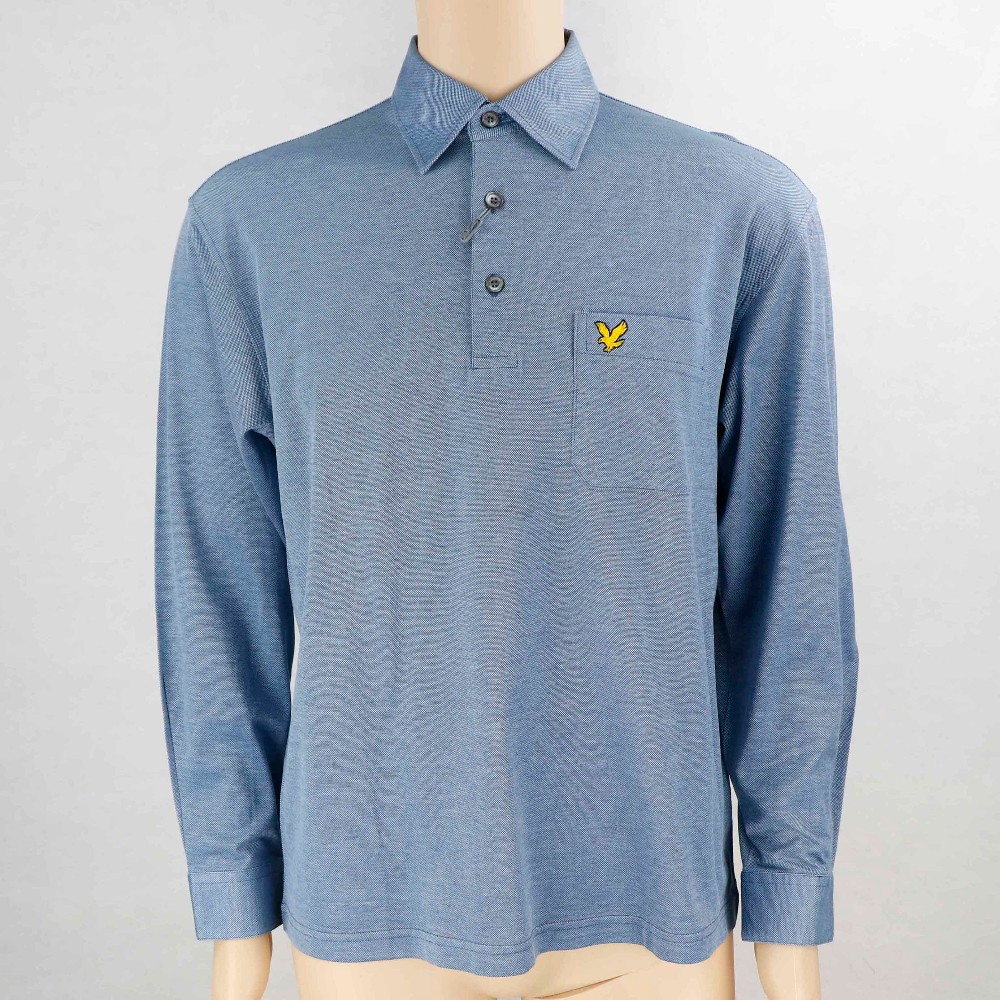Men's pure cotton shirt collar long sleeve double mercerized silked golf polo t-shirt