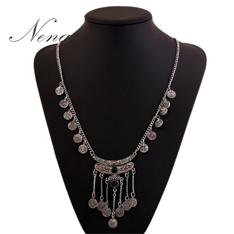 2015 BOHO Turkish Spanish Maxi Necklace Women Vintage Silver Coin Charms Chain Long Tassel Statement Necklaces & Pendants N1116