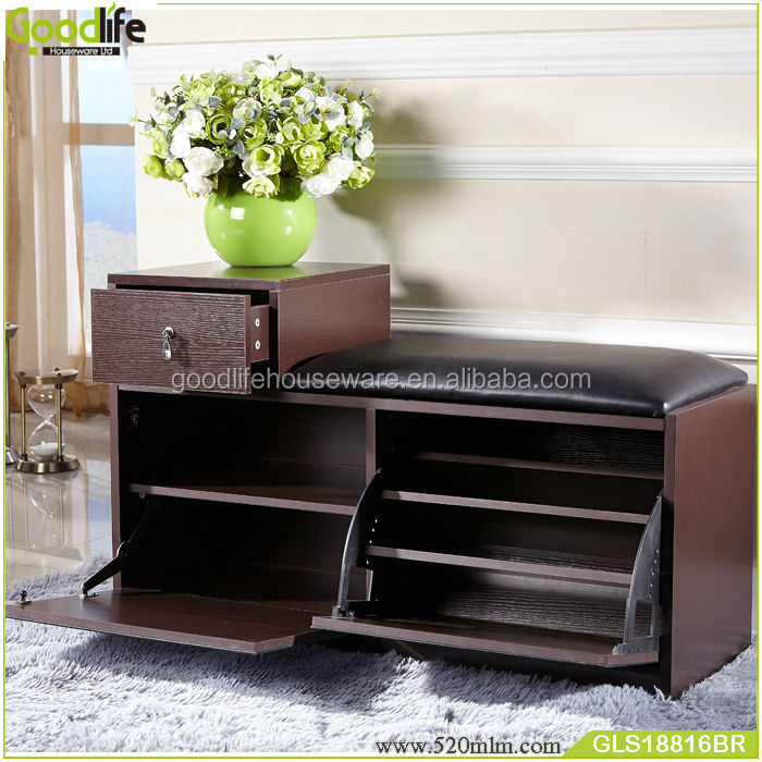 Latest Design Wood Shoe Rack With Pu Seat From Goodlife