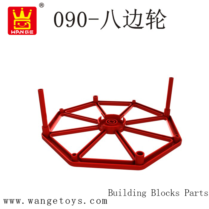 WANGE Plastic Toy Red Rubber 8 Wheel Accessories Story Building Blocks Bricks