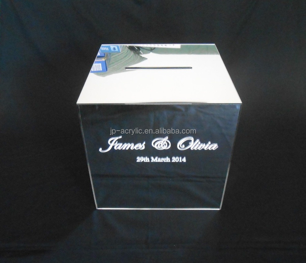 Personalised Treasure Forever Square Acrylic Mirror Wedding Wishing Well Box