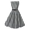 hot selling black and white houndstooth printing plus size cotton dress for ladies party
