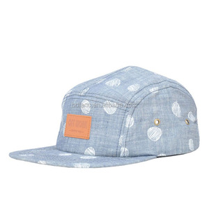 High quality Cotton Kids Polyester 5 Panel Hats Foldable Hat with leather patch