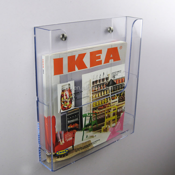 Wall Mounted Magazine Rack Acrylic Newspaper Stand Book Holder