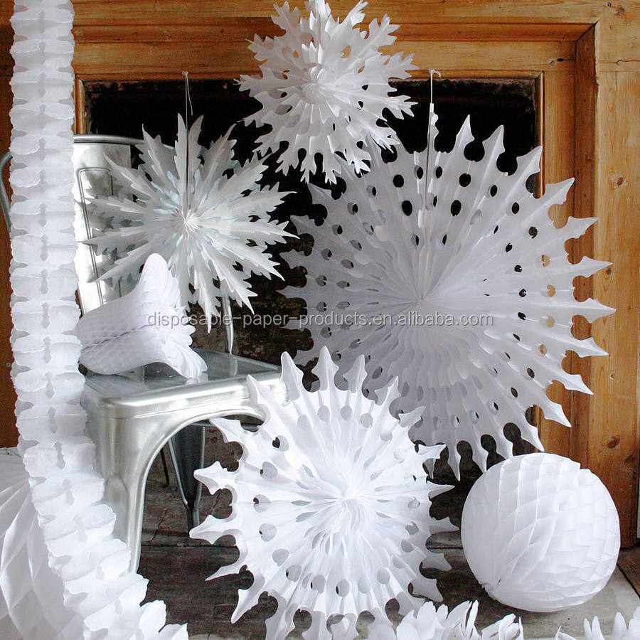 How to make christmas centerpieces with ice - White Paper Tissue Fan Christmas Decorations