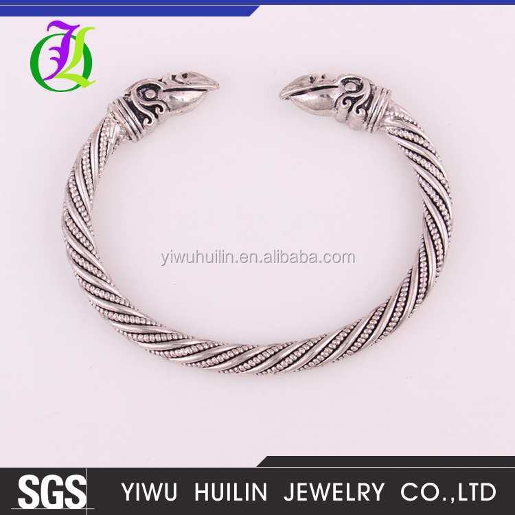 IMG 2950 Yiwu Huilin Jewelry Wholesale Crow men Raven Carter Bracelet Male Pagan Jewellery Plated Antique Bangle