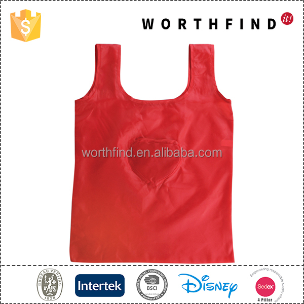 Polyester foldable custom colored supermarket shopping bag