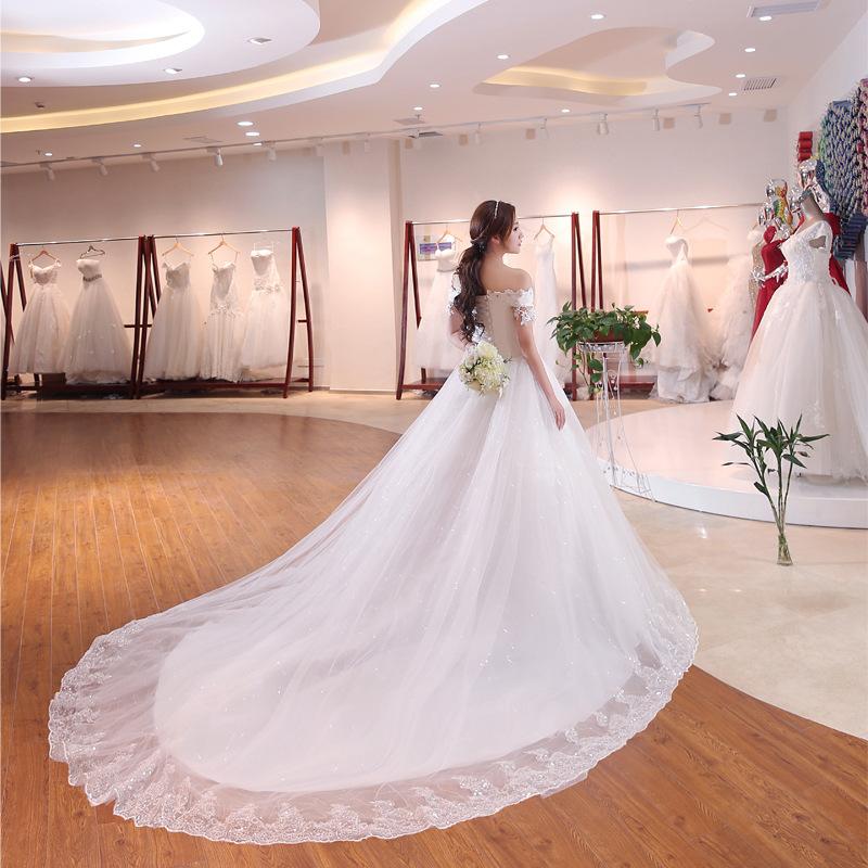 55ff3f62f 2018 verano nueva de moda con cuentas de encaje blanco boda Vestido con cola  larga.