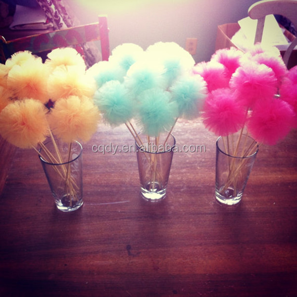 Tulle Hanging Pom Pom for Wedding Decoration Colorful Tutu ...