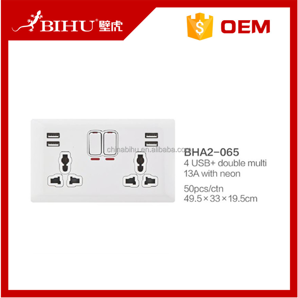 USB integrated wall outlet 118mm american wall socket with USB