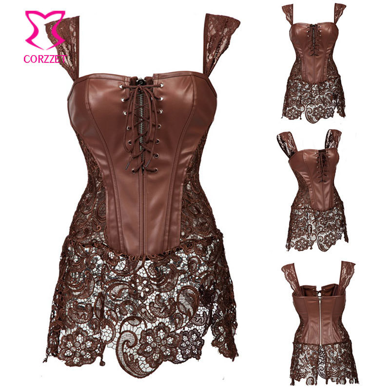 Sexy Gothic Leather &Lace Zipper Plus Size Steampunk Overbust Corset