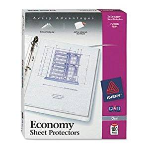 "Avery - 2 Pack - Top-Load Poly Three-Hole Sheet Protectors Economy Gauge Letter 100/Box ""Product Category: Binders & Binding Systems/Sheet Protectors Card & Photo Sleeves"""