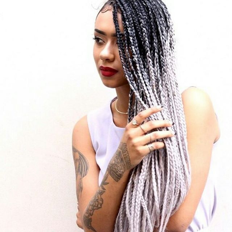Buy Charming Grey Braiding Hair Heat Resistant Ombre Two Tone Grey