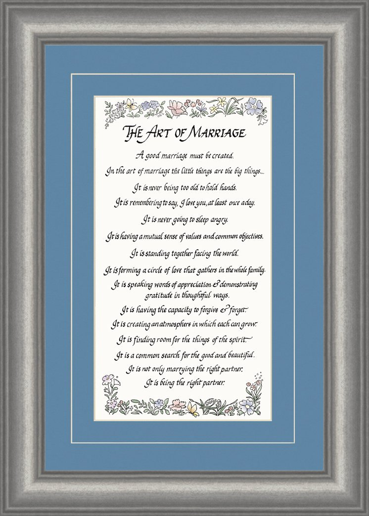 The Art of Marriage Inspirational Poem Framed Gift of Motivational Attributes for a Successful and Sacred Union