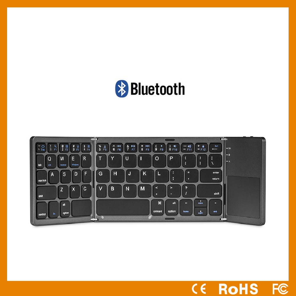 Factory supply portable mini bluetooth keyboard with touchpad mouse foldable keyboard for laptop