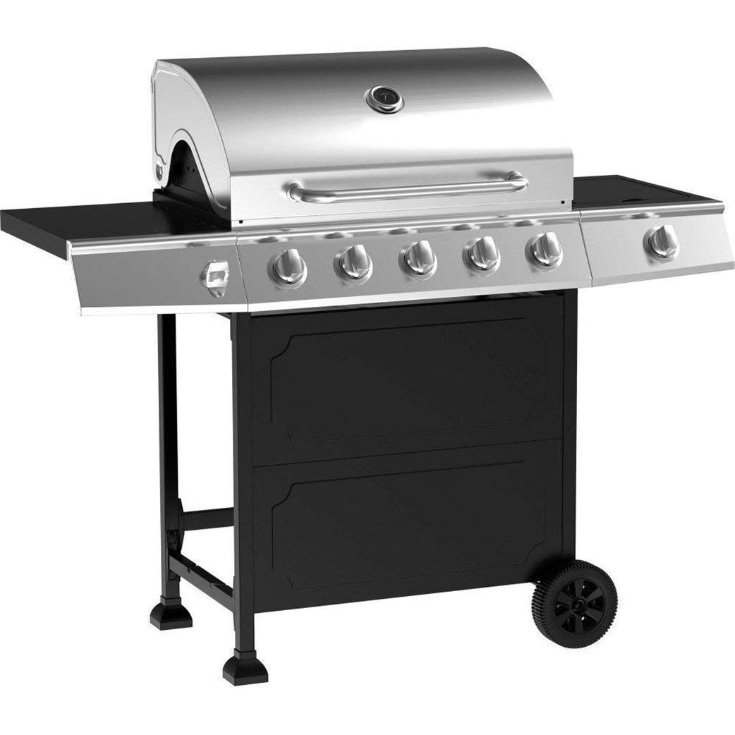BBQ Gas Grill Stainless Steel 5-Burner Outdoor Cooking Patio Garden Cast Iron Propan, easy to clean easy to use gas saving fast