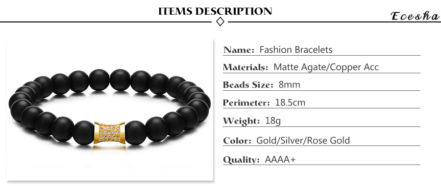 Simple Design Men Handmade Jewelry Black Agate Stone Bracelet With CZ