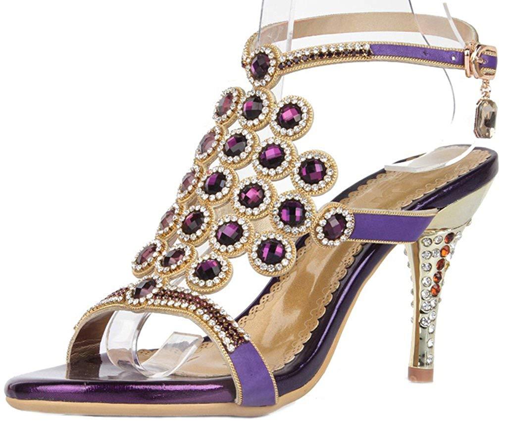 766350fe5e3b Get Quotations · YooPrettyz Rhinestone Studded Slingback Wedding Sandal  Cutout Strappy Evening Sandal Heels